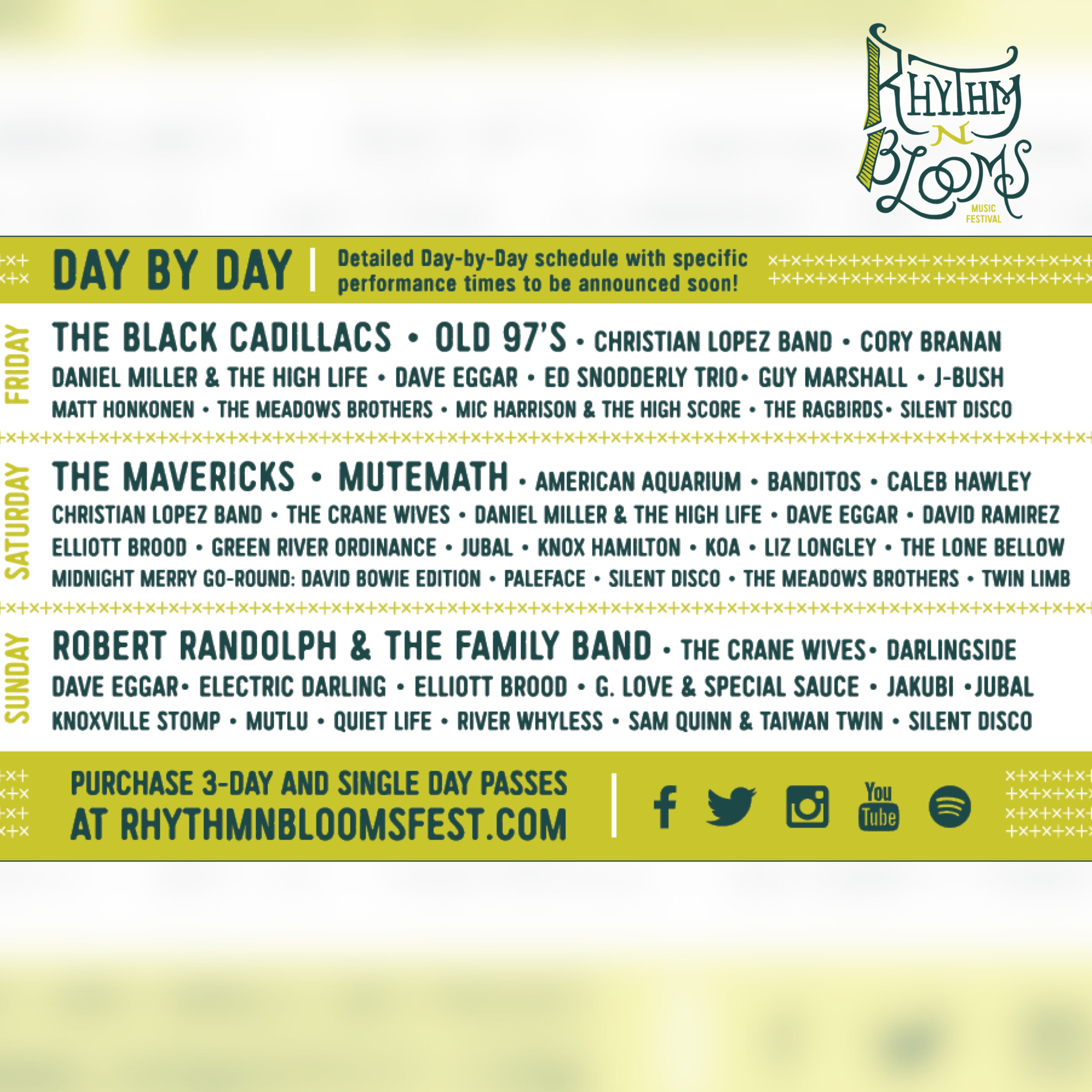 Rhythm N' Blooms Day-by-Day Lineup